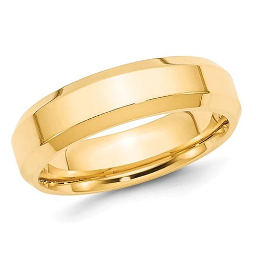 14k Yellow Gold 6mm Bevel Edge Comfort Fit Wedding Band