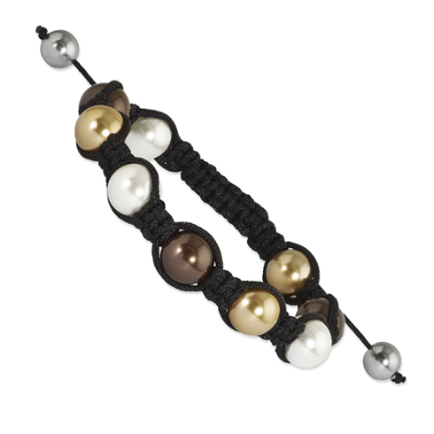 10mm White Brown and Bronze Shell Pearl Beads Black Cord Bracelet
