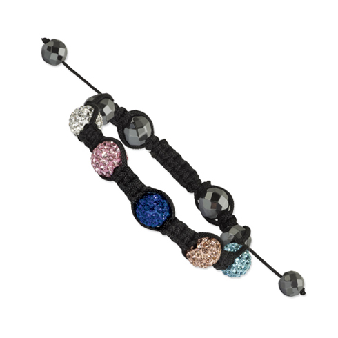 10mm Hematite Beads and 5 Multi Colored Crystal Beads Black Cord Bracelet