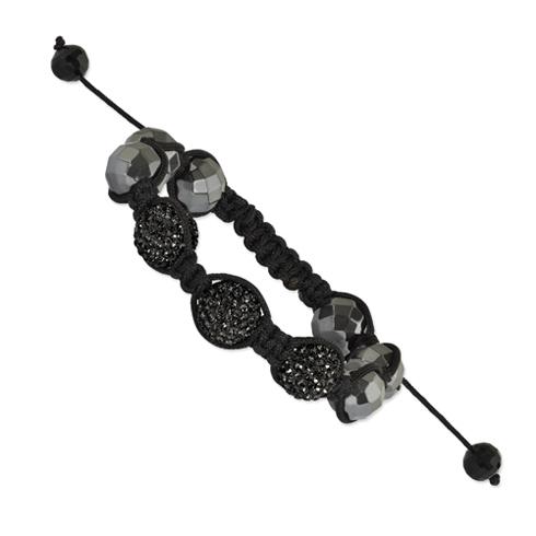 12mm Hematite Beads and 3 Black Crystal Beads Black Cord Bracelet