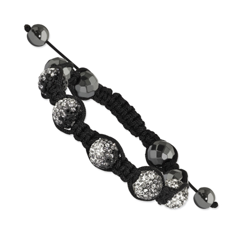 Hematite and Clear Grey and Black Crystal Beads Nylon Bracelet