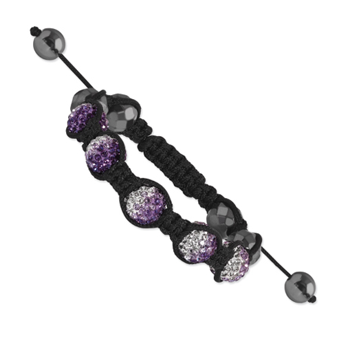 10mm Hematite and Clear Pink and Purple Crystal Beads Black Cord Bracelet