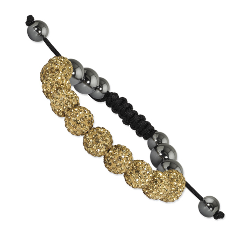 10mm Champagne Crystal and Hematite Beads Black Cord Bracelet