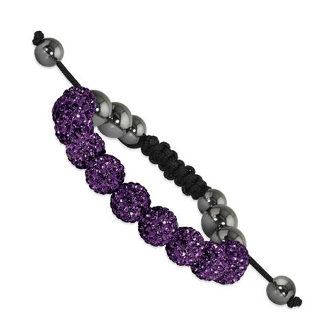 10mm Dark Purple Crystal and Hematite Beads Black Cord Bracelet