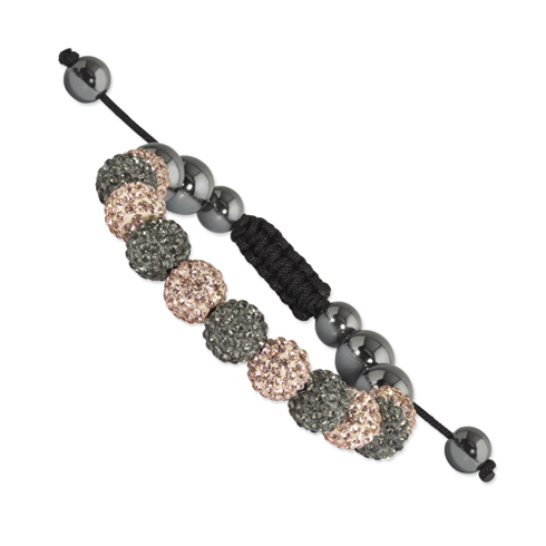 10mm Grey and Champagne Crystal and Hematite Beads Black Cord Bracelet
