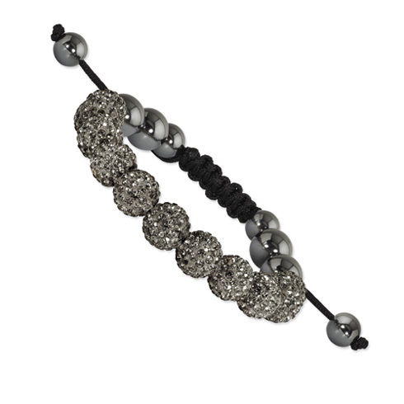 10mm Grey Crystal and Hematite Beads Black Cord Bracelet