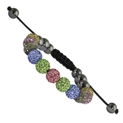 10mm Multicolored Crystal and Hematite Beads Black Cord Bracelet