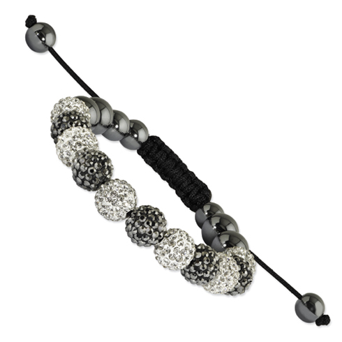 10mm White and Grey Crystal and Hematite Beads Black Cord Bracelet