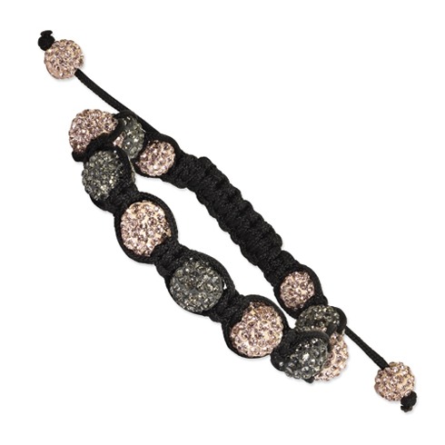 10mm Champagne and Grey Crystals Black Cord Bracelet