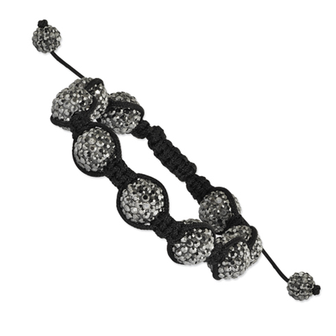 12mm Grey Crystal Beads Black Cord Bracelet