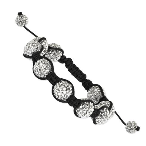 12mm White Crystal Beads Black Cord Bracelet