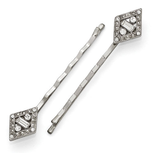 Silver-tone Downton Abbey White Crystal Set of Hair Pins