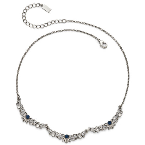 Silver-tone Downton Abbey Blue Crystal Scallop Necklace
