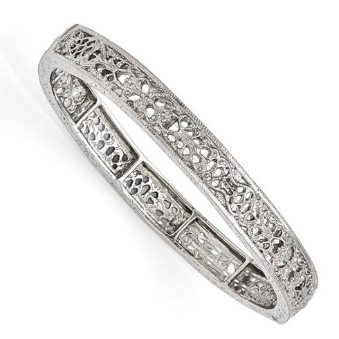 Silver-tone Downton Abbey Filigree Stretch Bracelet
