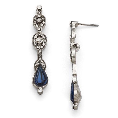 Silver-tone Downton Abbey Blue Crystal Drop Earrings