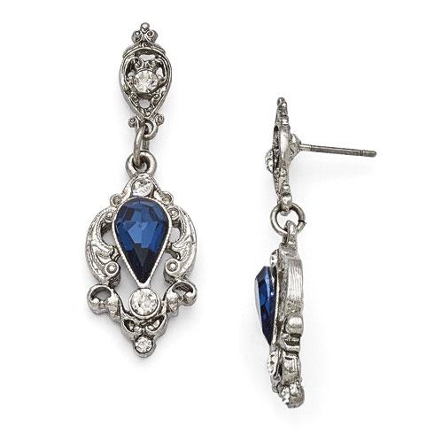Silver-tone Downton Abbey Pear Shaped Blue Crystal Earrings