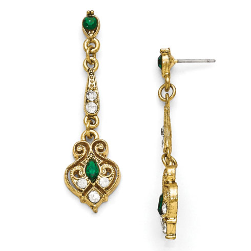 Gold-tone Downton Abbey Green Glass Filigree Post Earrings