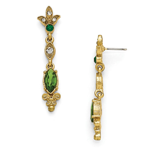 Gold-tone Downton Abbey Green Crystal Deco Drop Earrings