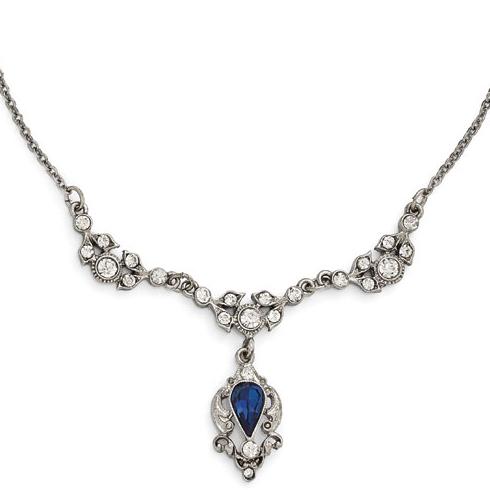 Silver-tone Downton Abbey Blue Crystal Drop Necklace