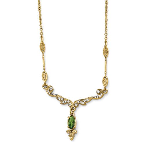Gold-tone Downton Abbey Green Crystal Scroll Necklace
