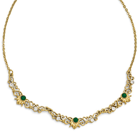 Gold-tone Downton Abbey Green Crystal Scallop Link Necklace
