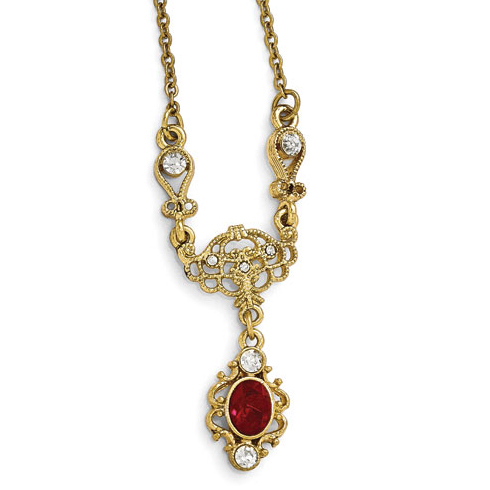 Gold-tone Downton Abbey Red Crystal Glass Drop Necklace