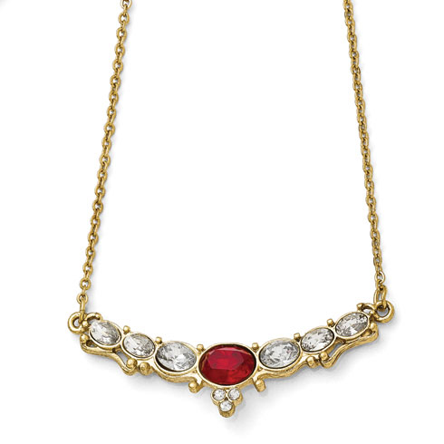 Gold-tone Downton Abbey Red Crystal Collar Necklace