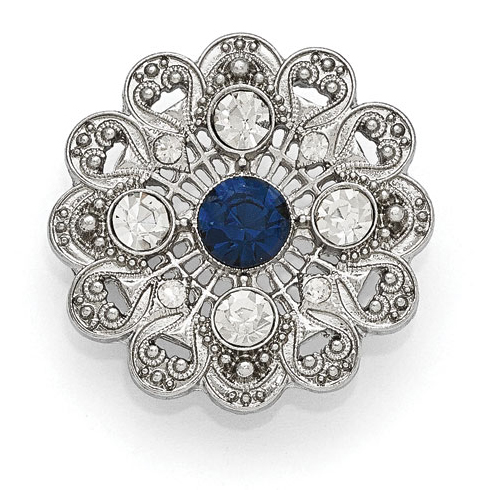 Silver-tone Downton Abbey Blue Crystal Filigree Pin