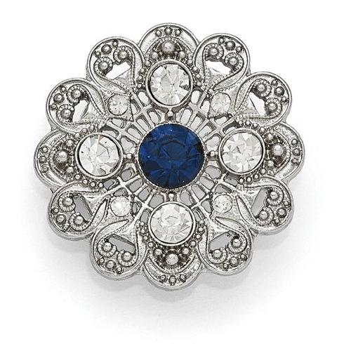 Silver-tone Downton Abbey Blue Crystal Filigree Pin