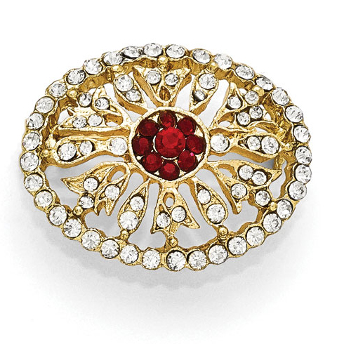 Gold-tone Downton Abbey Red and White Crystal Oval Pin