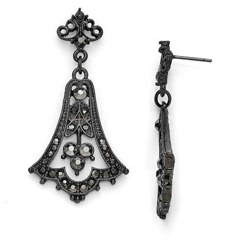 Black-plated Downton Abbey Black Crystal Fleur Bell Drop Earrings