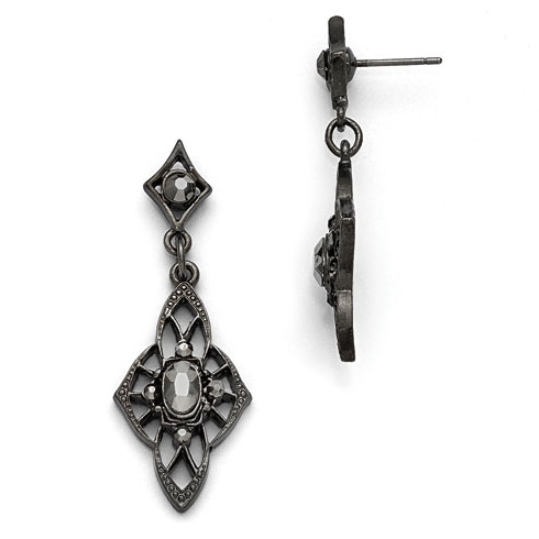 Black-plated Downton Abbey Black Glass Filigree Drop Earrings