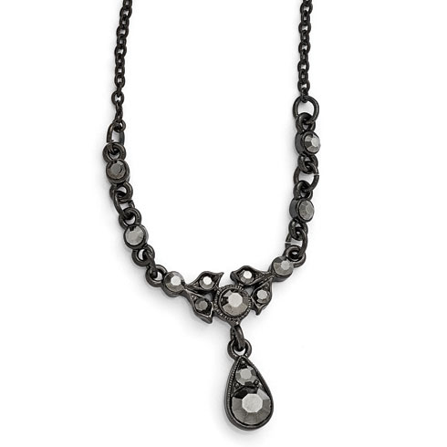 Black-plated Downton Abbey Hematite Crystal Drop Necklace