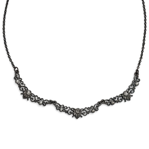 Black-plated Downton Abbey Glass Filigree Link Necklace