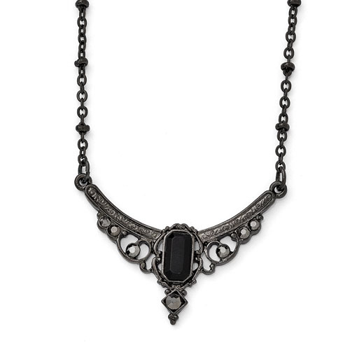 Downton Abbey Black-plated Glass Edwardian Collar Necklace