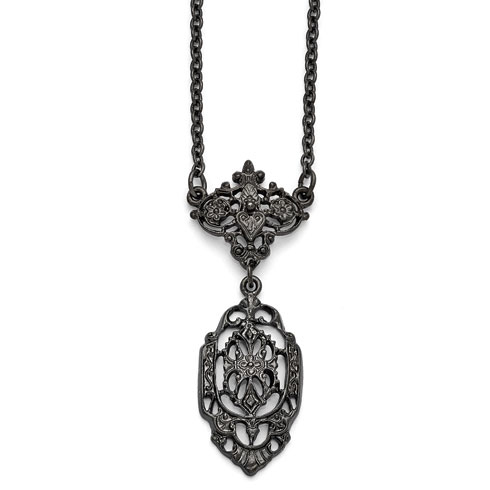 Black-plated Downton Abbey Filigree Drop Necklace