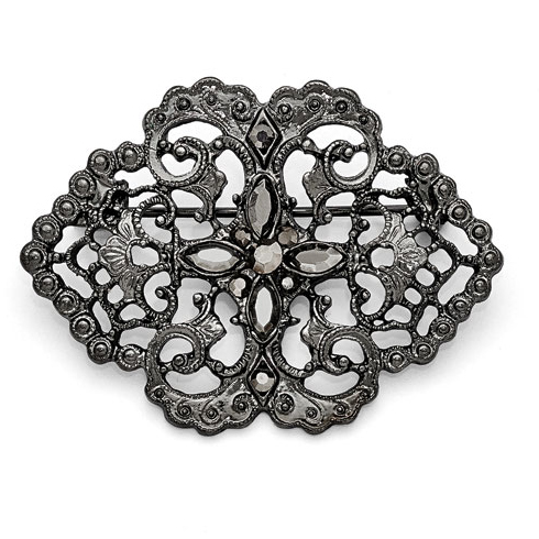 Black-plated Downton Abbey Black Crystal Lace Filigree Pin
