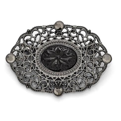 Black-plated Downton Abbey Floral Lace Oval Pin