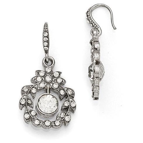 Silver-tone Downton Abbey Crystal Garland Dangle Earrings