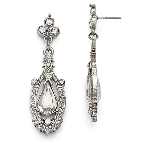 Silver-tone Downton Abbey Crystal Accented Drop Earrings