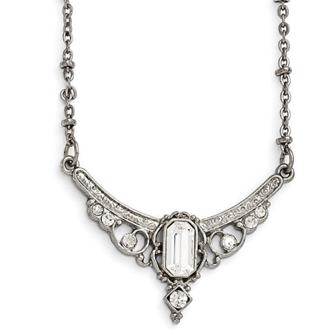 Silver-tone Downton Abbey Crystal Statement Necklace