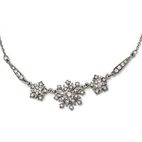 Silver-tone Downton Abbey Crystal Snowflake Necklace