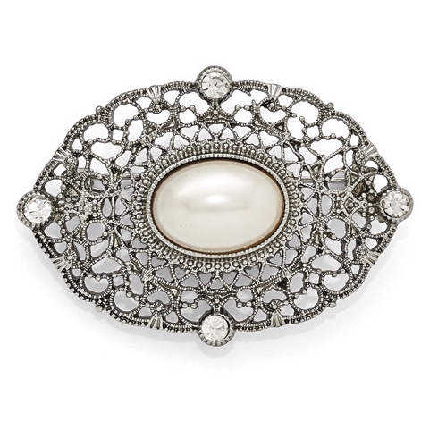 Silver-tone Downton Abbey Simulated Pearl Oval Pin with Crystals