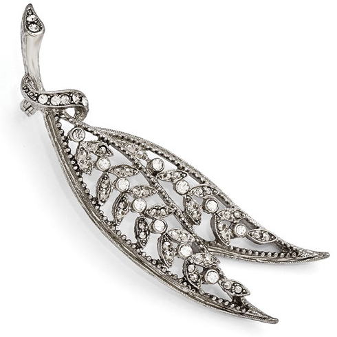 Silver-tone Downton Abbey Crystal Leaf Pin