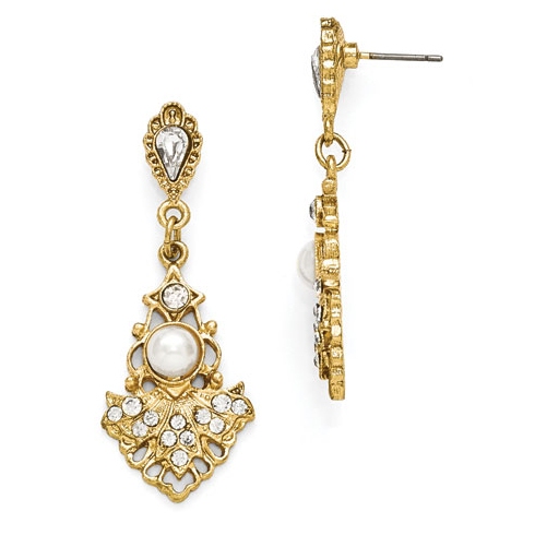 Gold-tone Downton Abbey Glass Crystal Simulated Pearl Drop Earrings
