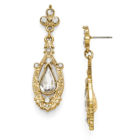 Gold-tone Downton Abbey Glass Pear Crystal Drop Earrings