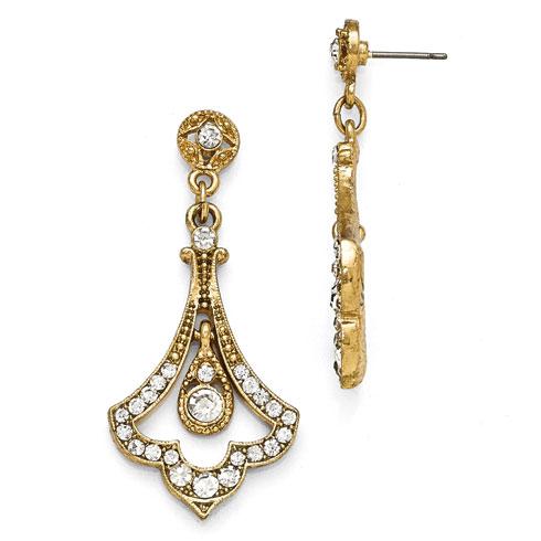 Gold-tone Downton Abbey Edwardian Glass Fleur Drop Earrings