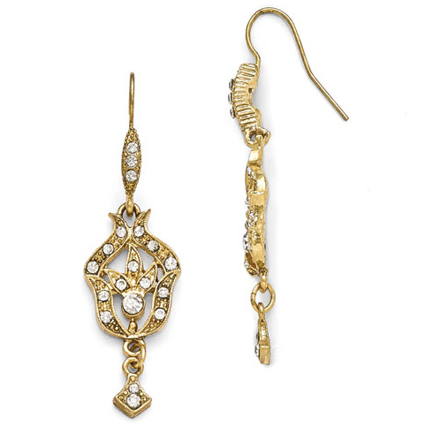 Gold-tone Downton Abbey Glass French Wire Dangle Earrings
