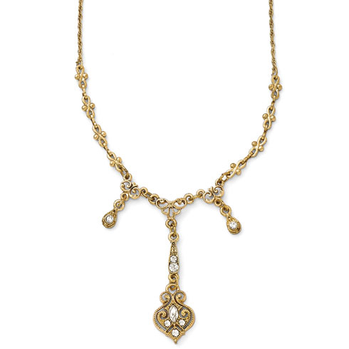Gold-tone Downton Abbey Glass Crystal Triple Drop Necklace