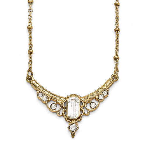 Gold-tone Downton Abbey Crystal Gilded Statement Necklace